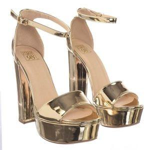 Speed Limit 98 Gold Platform High Heel Sandals 8